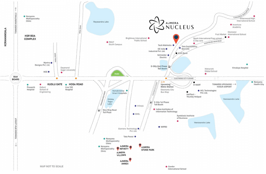 Ajmera Nucleus in Electronic City - Map