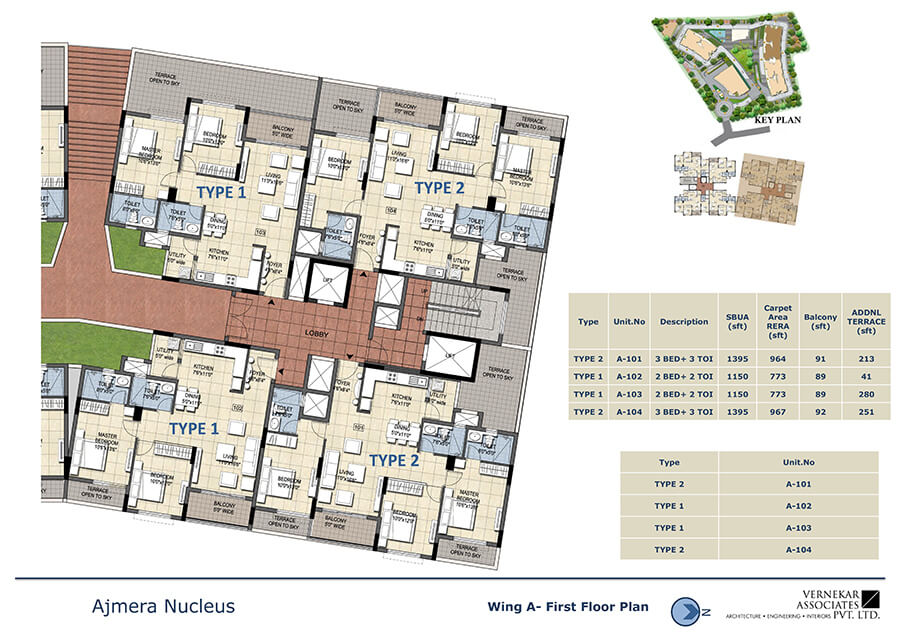 Wing A First Floor Plan - Ajmera Nucleus