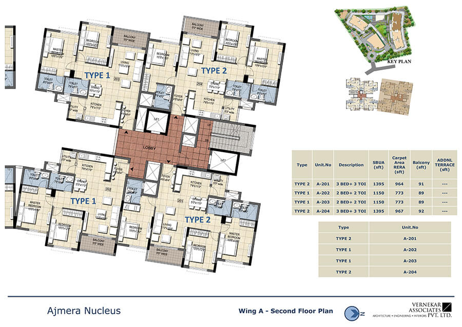 Wing A Second Floor Plan - Ajmera Nucleus