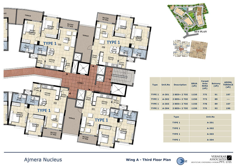 Wing A Third Floor Plan - Ajmera Nucleus