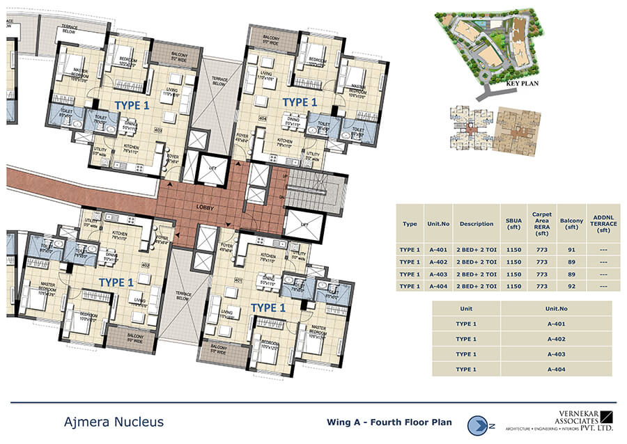 Wing A Fourth Floor Plan - Ajmera Nucleus